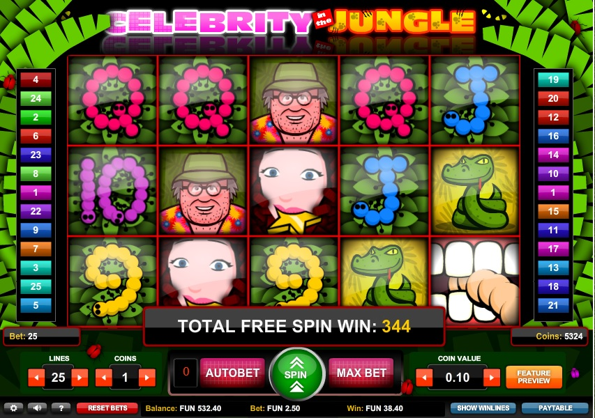 Celebrity in the Jungle Free Slot Machine Game